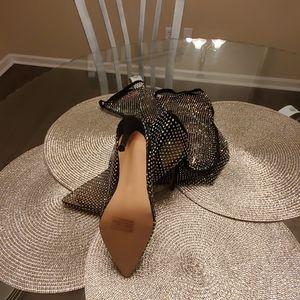 EGO Shoes - Fishnet thigh high iridescent rhinestone boots
